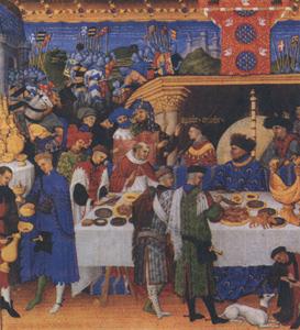 Пир в феодальном замке. Из календаря герцога Беррийского
